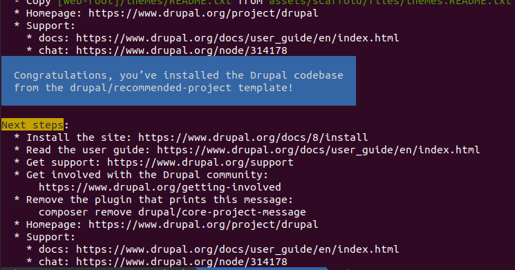 Drupal composer scaffold command line output.