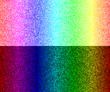 Colors, segmented by hue, saturation and value, but not sorted.