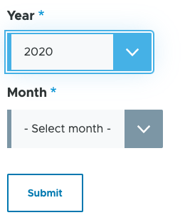 Drupal date picker select elements with year selected and the month showing.