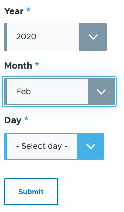 Drupal date picker select elements with year and month selected and the day now showing.