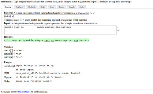 reWork: Regular Expression Workbench