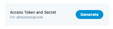 Twitter API Token and secret